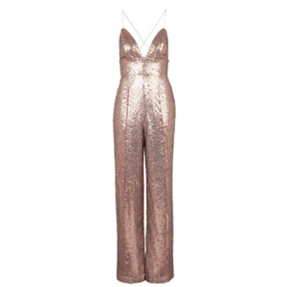 All-Over Sequin Plunge Jumpsuit