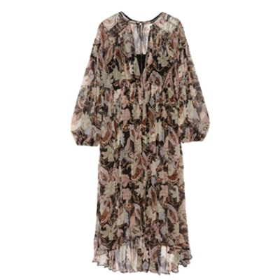 Henna Plisse Printed Silk-Georgette Midi Dress