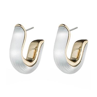 Geometric Huggie Post Earrings