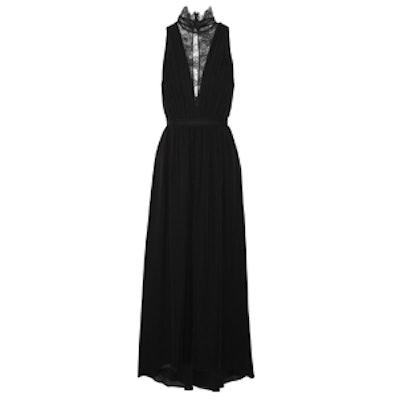 Kaden Lace-Paneled Silk-Georgette Dress
