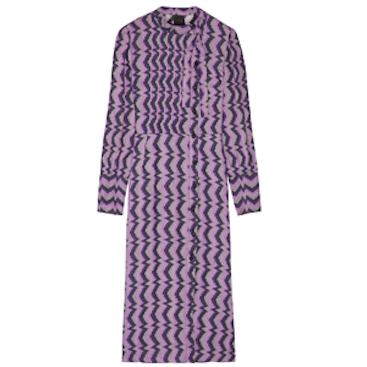 Printed Twill Midi Shirt Dress