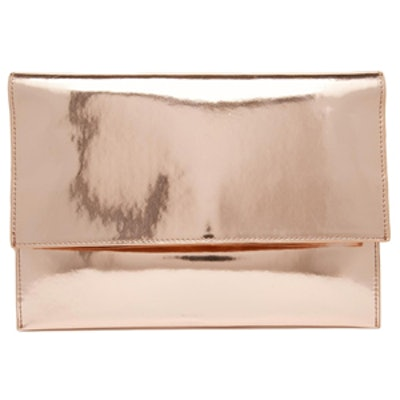 Metallic Fold Over Clutch Bag