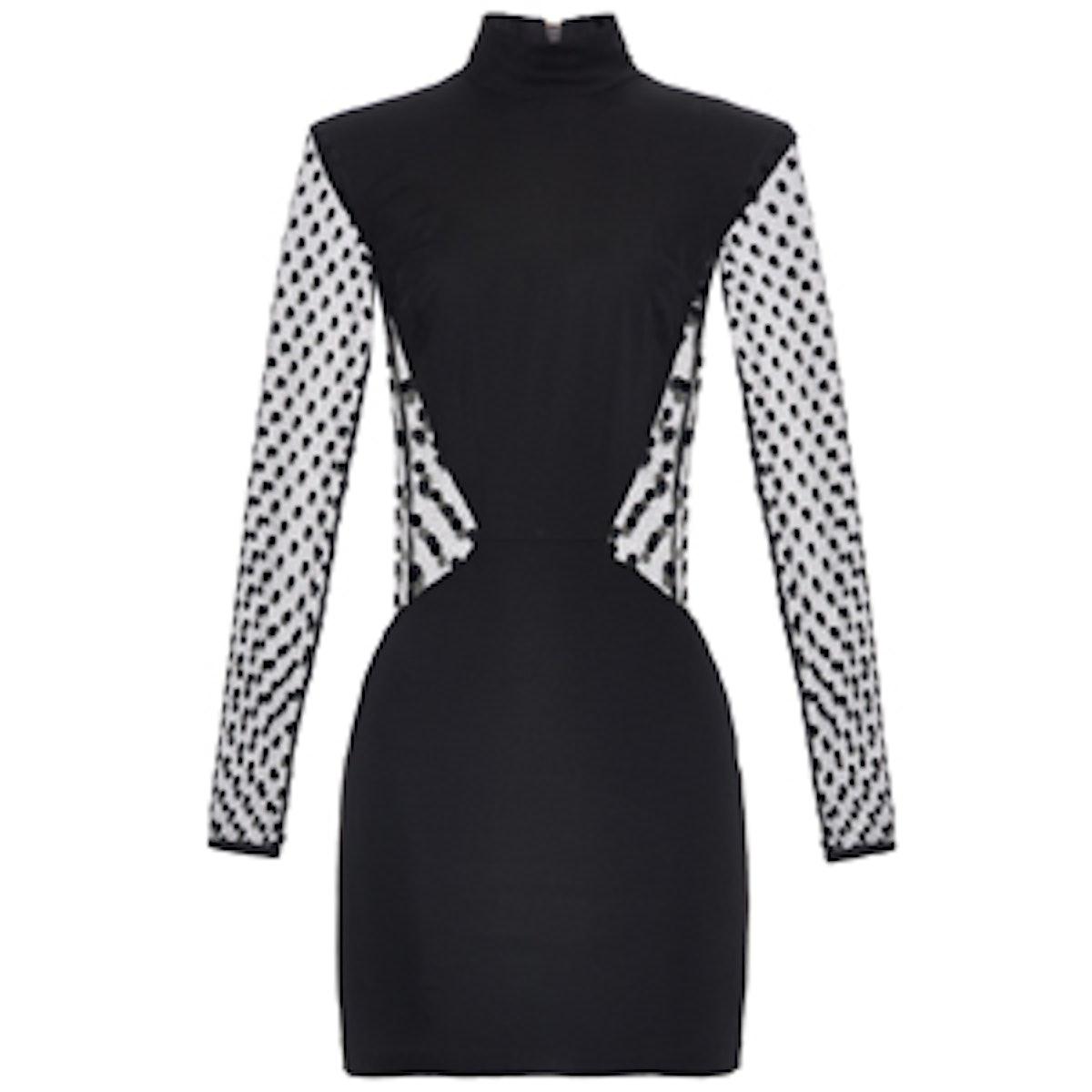 Long-Sleeved Polka-Dot Mini Dress