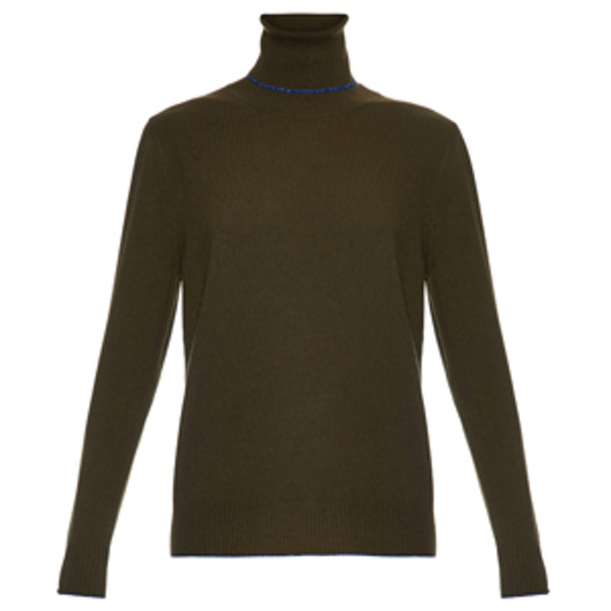 Contrast-Trim Roll-Neck Cashmere Sweater
