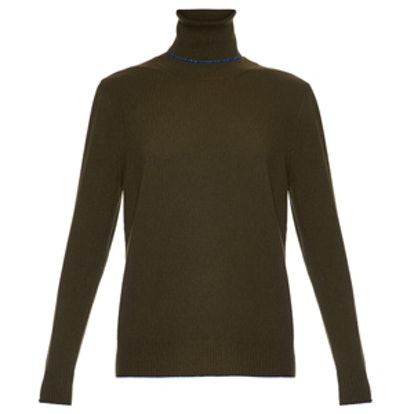 Contrast-Trim Roll-Neck Cashmere Sweater