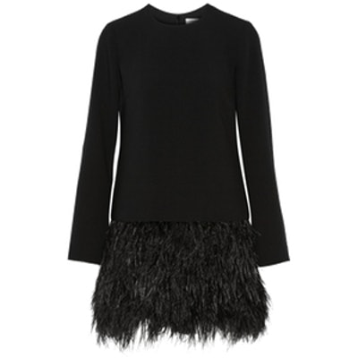 Serena Feather-Trimmed Cady Mini Dress
