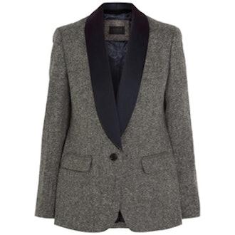 Satin-Trimmed Wool-Tweed Blazer