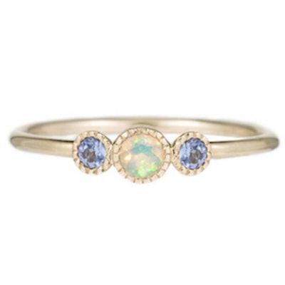 Opal Tanzanite Trio Ring