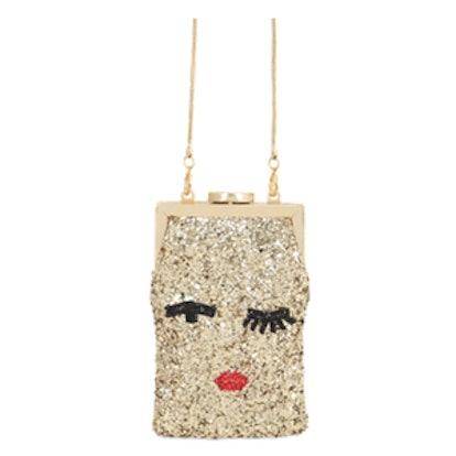 Ellie Face Glittered Shoulder Bag
