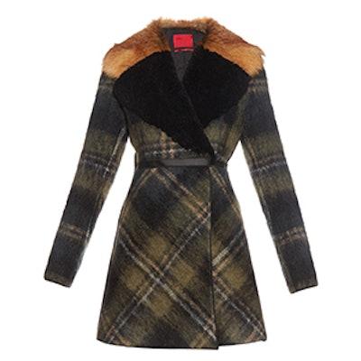 Shearling and Fur Collar Mohair Blend Coat