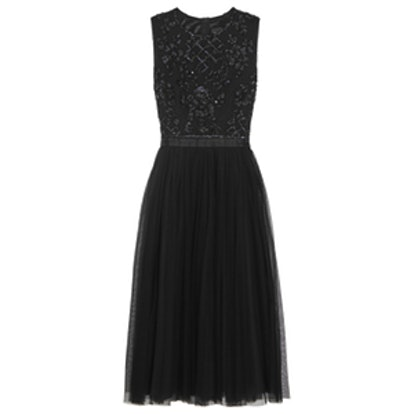 Embellished Crepe and Tulle Dress