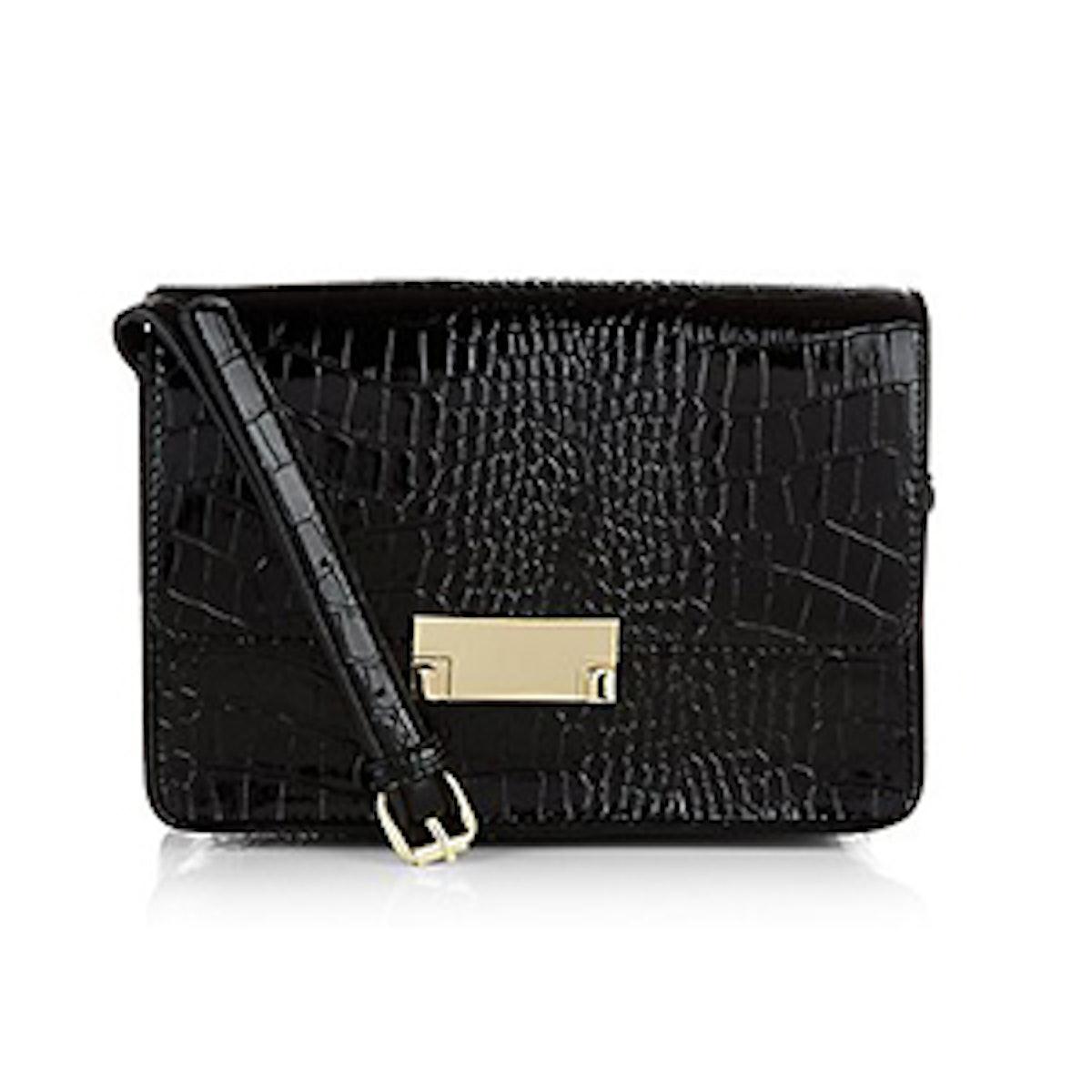 Black Croc Textured Mini Across Body Bag