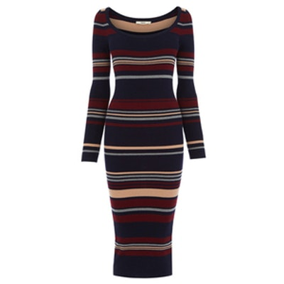 70s Stripe Rib Tube Dress