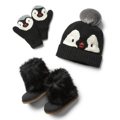 Penguin Pom Pom Beanie, Mittens and Boots