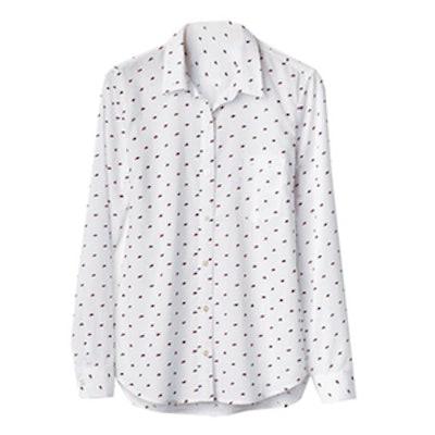 Swiss-Dot Fitted Boyfriend Shirt