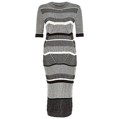 Grey Stretch Knitted Stripe Sweater