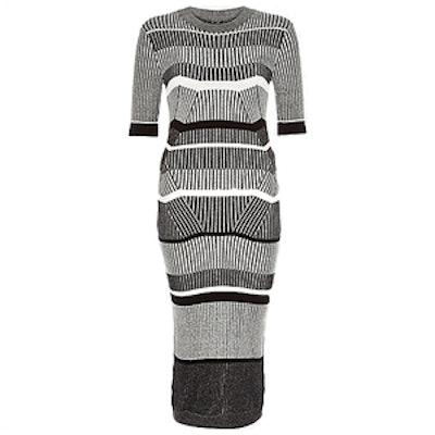 Grey Stretch Knitted Stripe Sweater