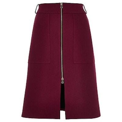 Zip-Up Split Front Midi Skirt