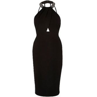 Embellished Neck Cut-Out Bodycon Dress