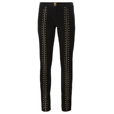 Studded Corduroy Skinny Trousers