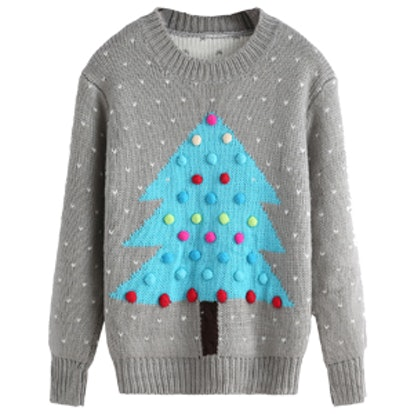 Christmas Tree Patterned Ball Embellished Sweater
