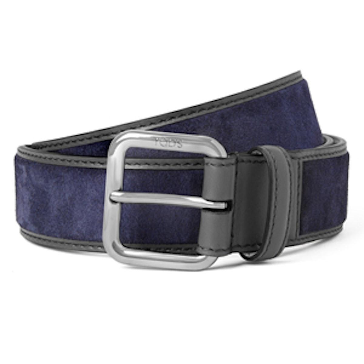 Leather Trimmed Suede Belt