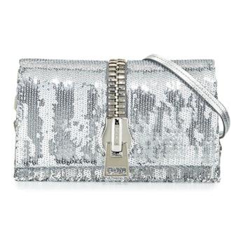 Zip-Front Sequin Krung Clutch Bag
