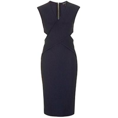 Cross-Over Wrap Midi Dress