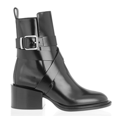 Buckled Glossed Leather Ankle Boots