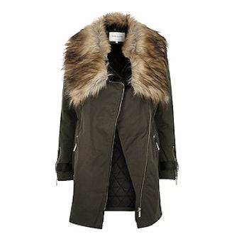 Khaki Faux Fur Trim Parka Coat