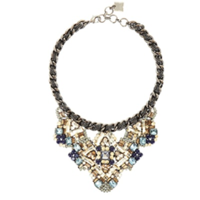 Woven Chain Stone Statement Necklace