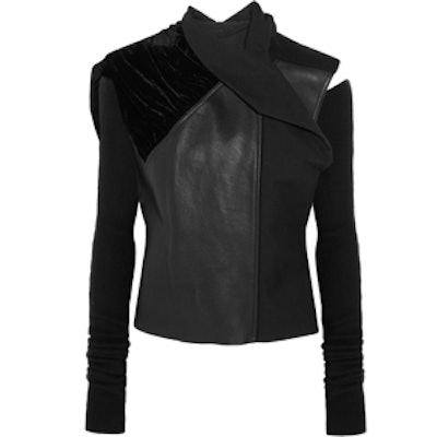 Sphinx Leather Velvet & Wool Biker Jacket