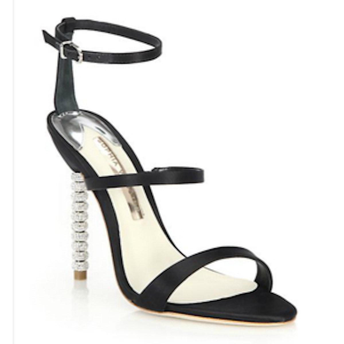Rosalind Crystal-Heel Satin Sandals