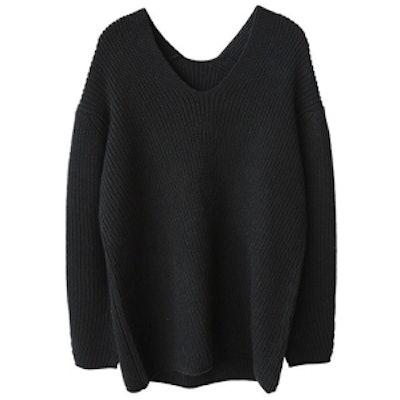 Black Oversized V Neck Sweater