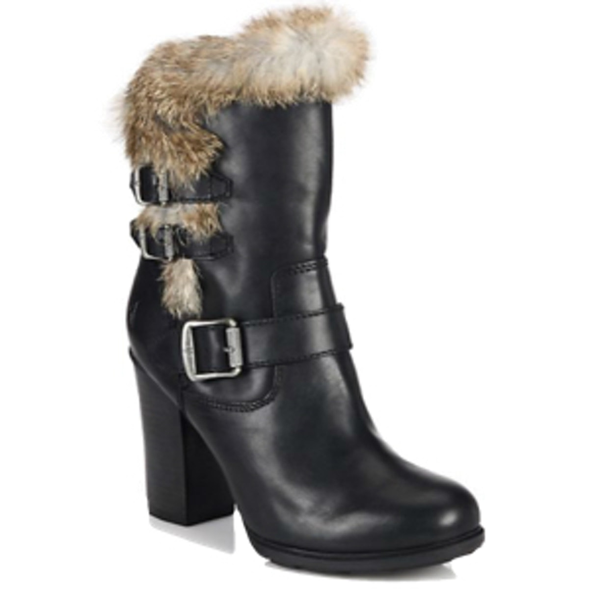 Penny Leather & Rabbit Fur Buckled Booties