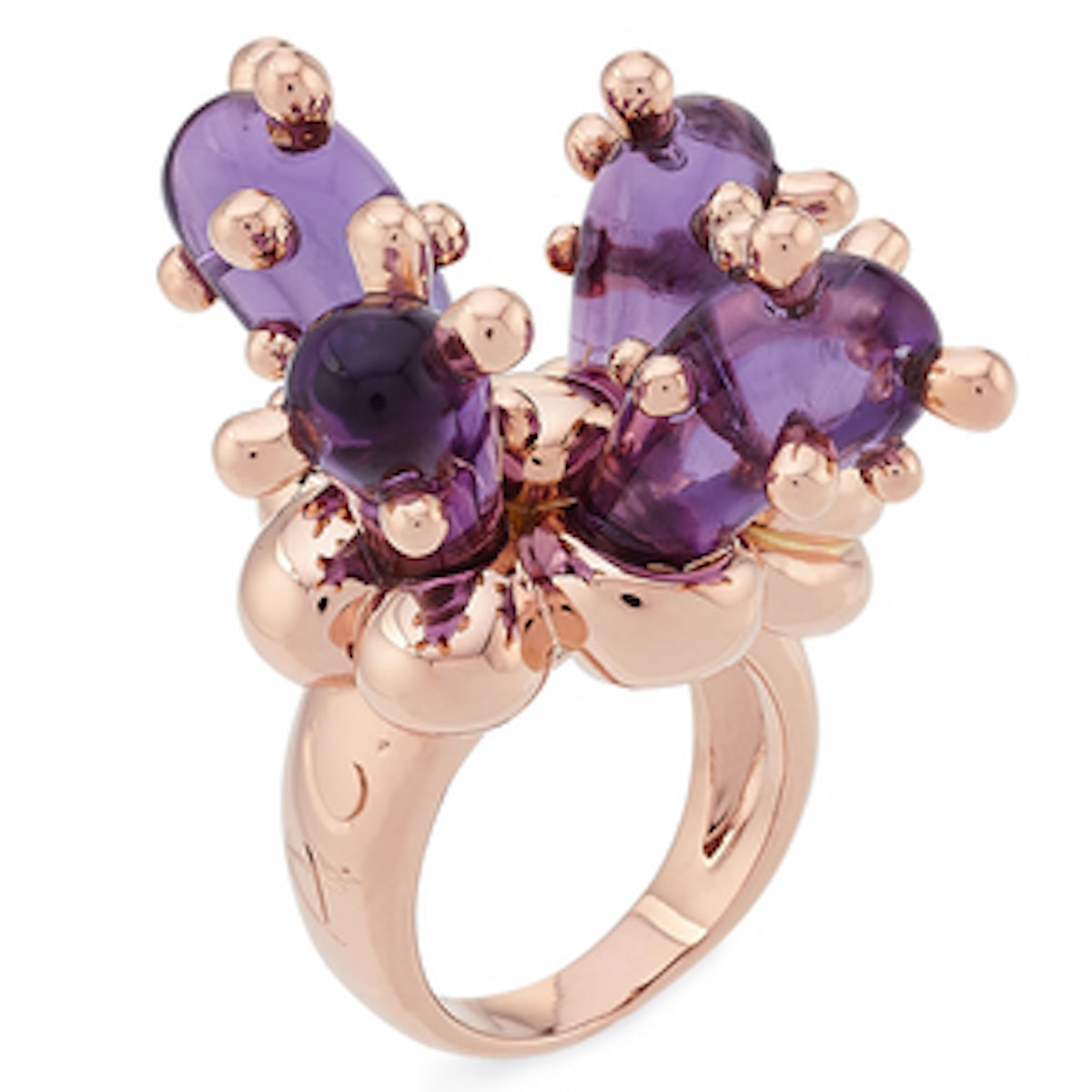 8kt Pink Gold Cactus Ring with Amethyst