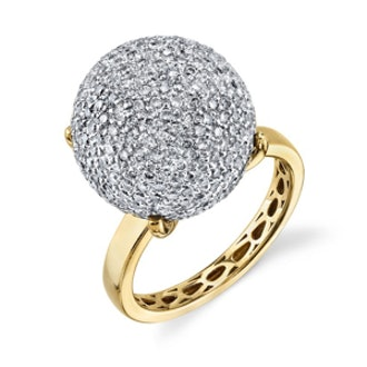 Yellow-Gold & Pave Diamond Ball Ring