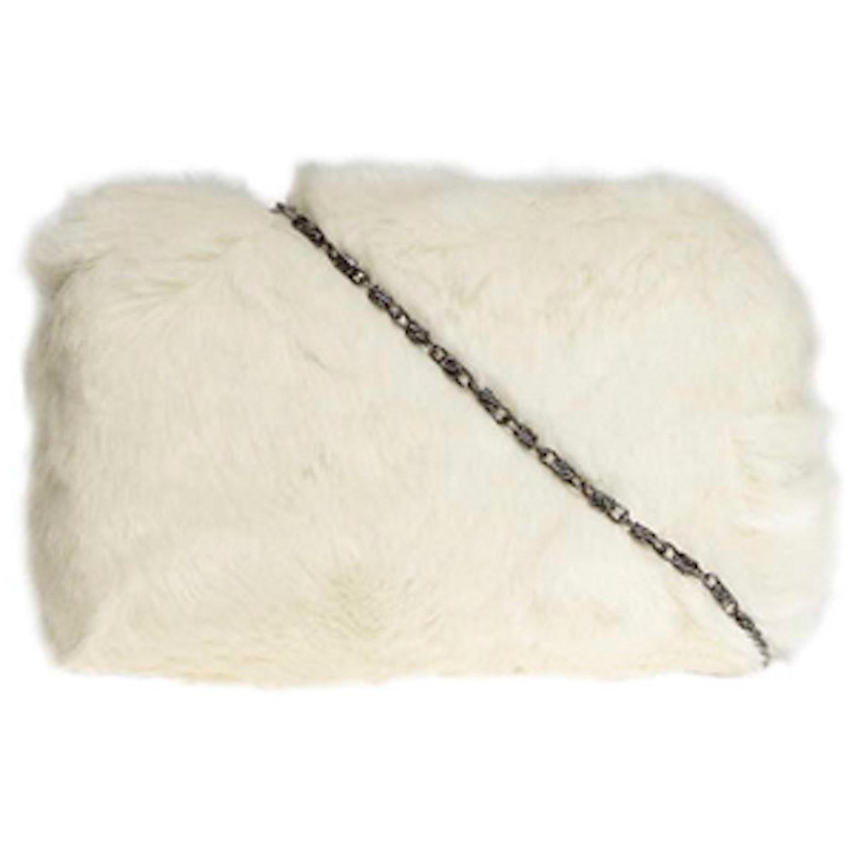 White Faux Fur Box Clutch Bag