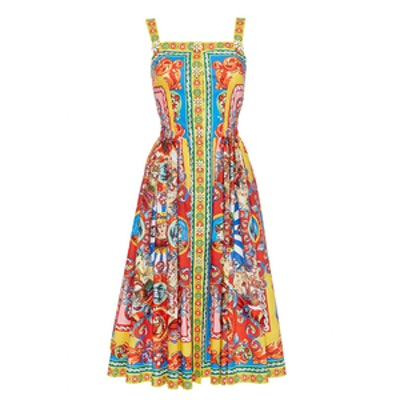 Cotton Multicolor Printed Sleeveless Dress