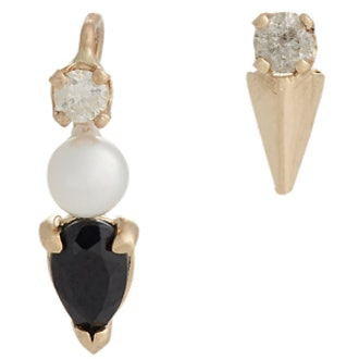Multi Gemstone, Gold Pin & Stud Earring Set