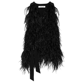 Xiomara Feather-Embellished Crepe Vest