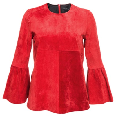 Red Suede Flare Sleeve Top