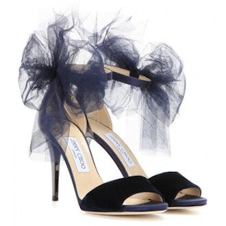 Lilyth Embellished Velvet And Metallic Sandals