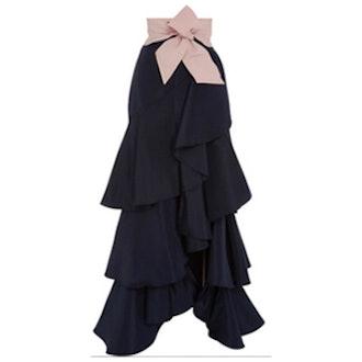 Black Silk Ruffled Midnight Skirt