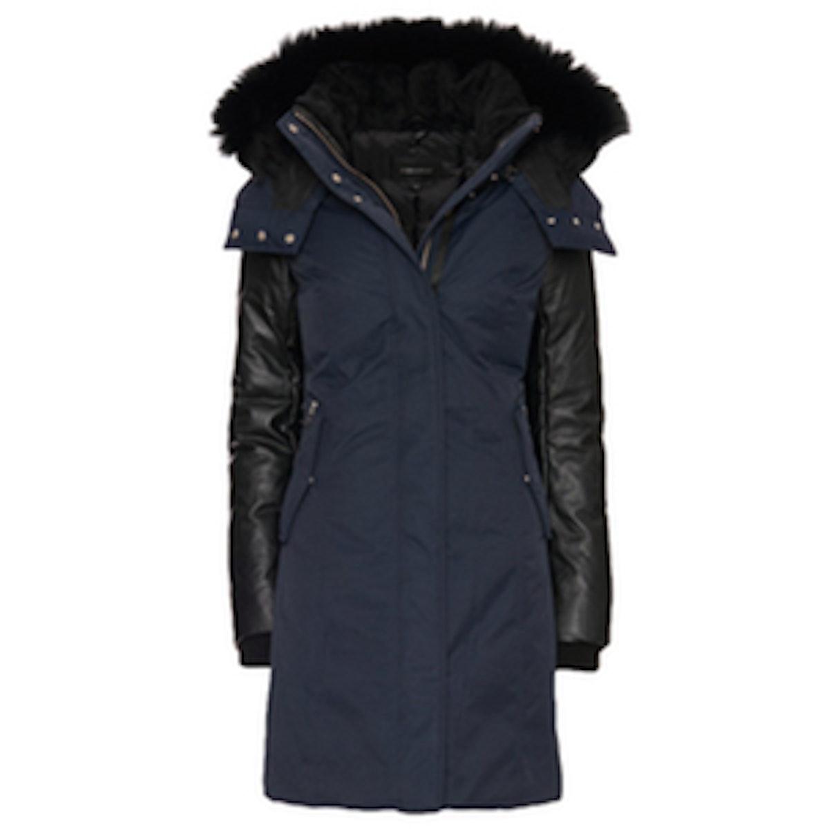 Kerry Fur-Trim Leather Sleeve Parka