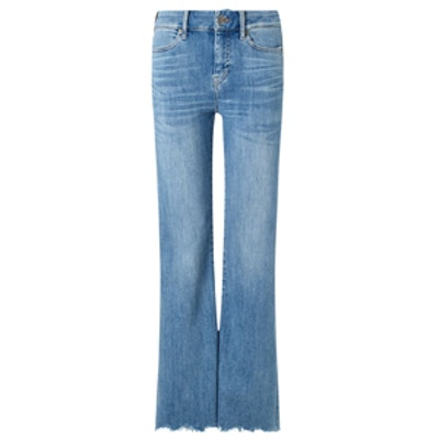 Blue Cropped Flare Lou Jeans