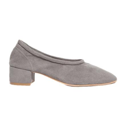 Grey Suede Slip on Heels