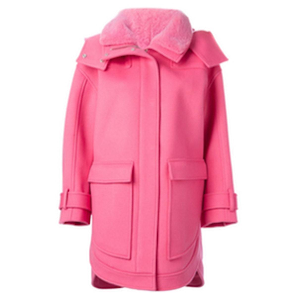 Fur Collar Hooded Coat