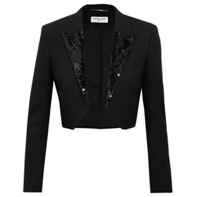 Cropped Sequin Blazer
