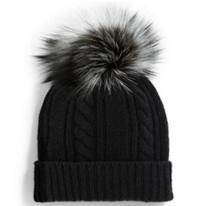 Cashmere Fur Pom-Pom Hat